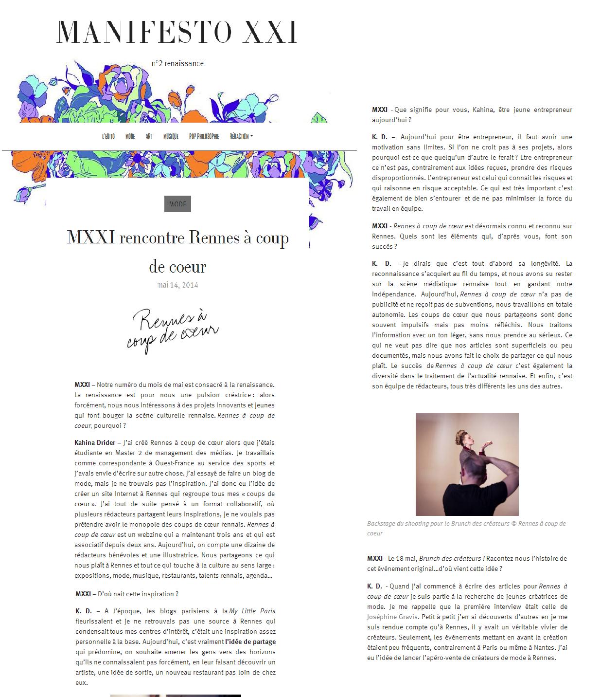 Manifesto XXI - mai 2014 http://manifesto-21.com/2014/05/14/mxxi-rencontre-rennes-a-coup-de-coeur/