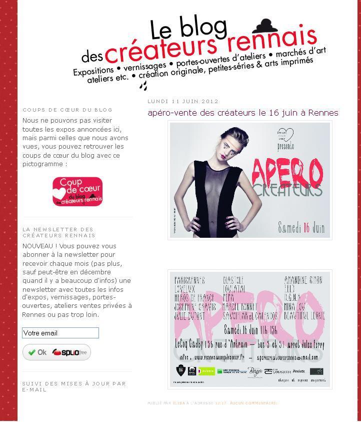 Le blog des créateurs rennais - Juin 2012