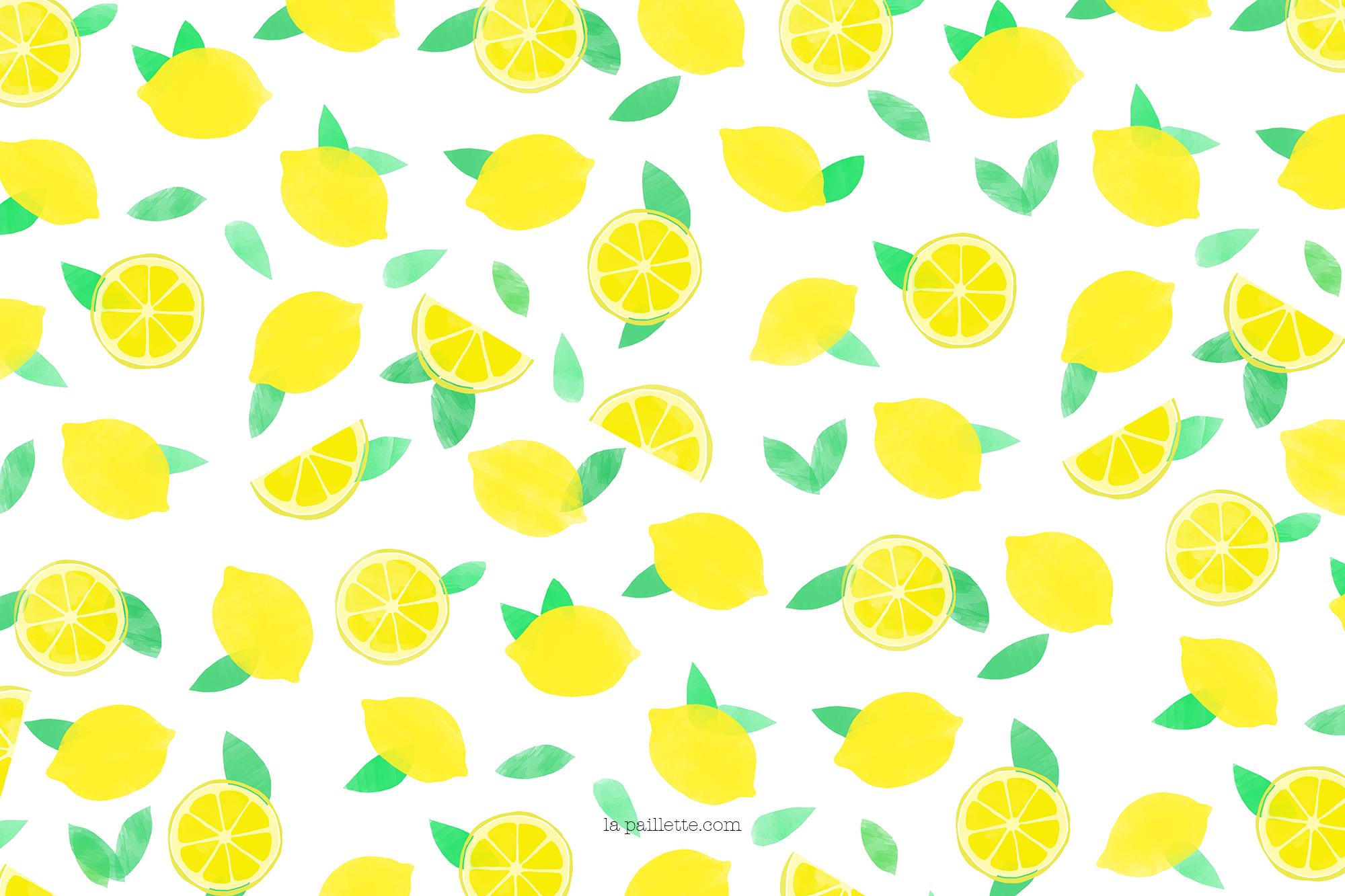 Claire la paillette blog rennes illustratrice fond ecran citrons motif