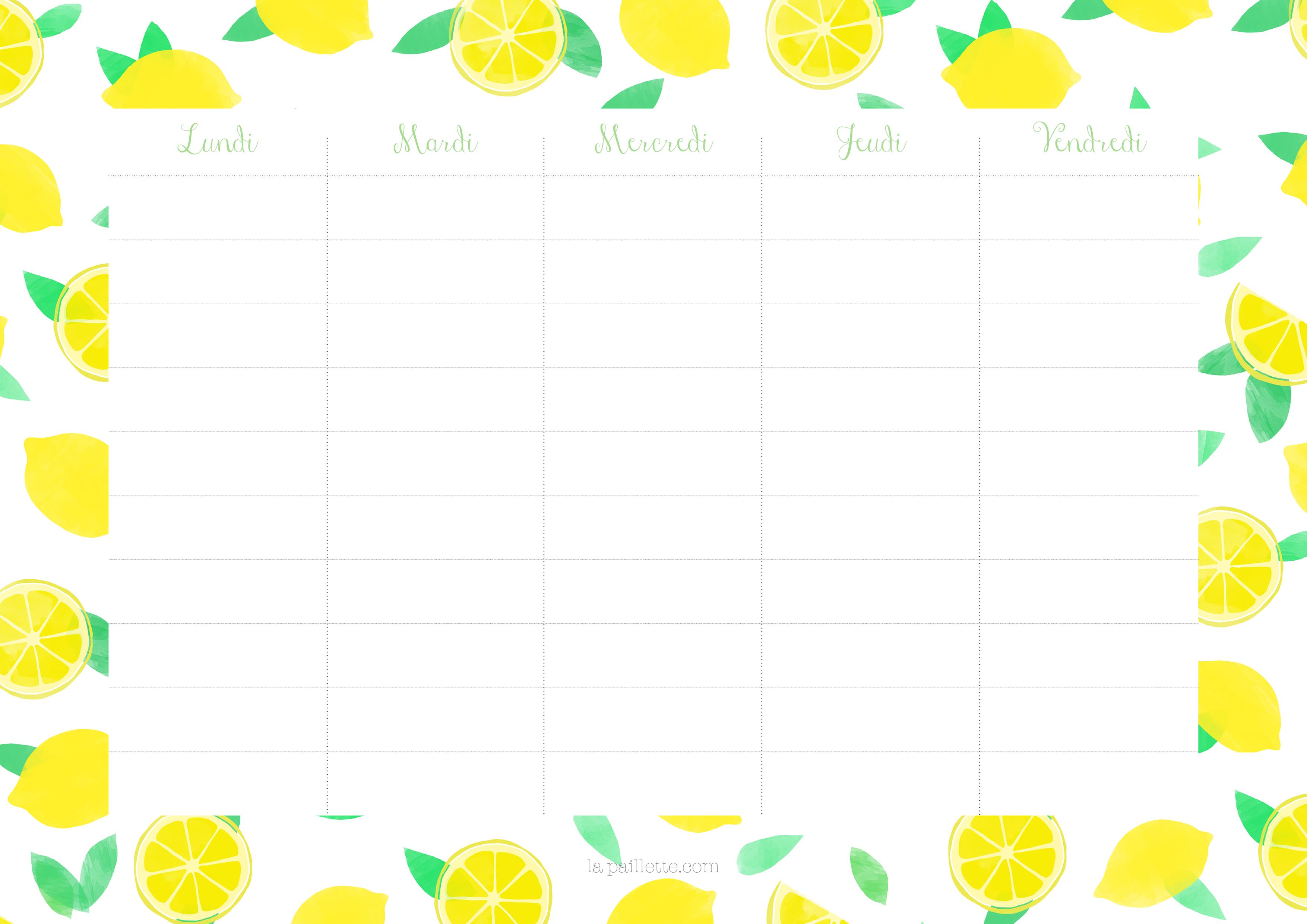 Claire la paillette emploi temps semainier weekly planner citrons lemons